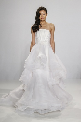 Christian Siriano for Kleinfeld Bridal strapless ball gown wedding dress with cascading ruffles