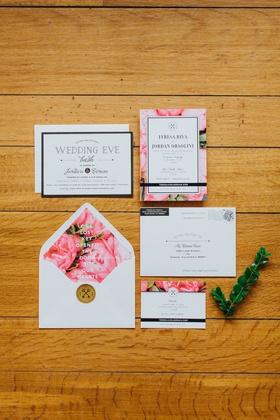 pink floral wedding invitation, pink peony lining of envelope