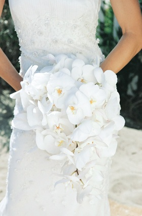 Cascading white phalaenopsis orchid bouquet