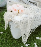 Beach wedding shabby chic rowboat with seashells
