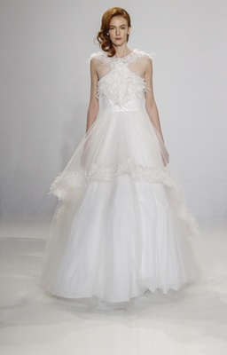 Christian Siriano for Kleinfeld Bridal ball gown with feather applique details and overlay on skirt