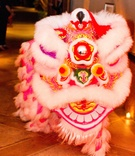 Vineyard wedding with a chinese lion dance with white, red, yellow, pink lion