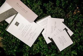 Wedding invitation black and white simple modern look monogram