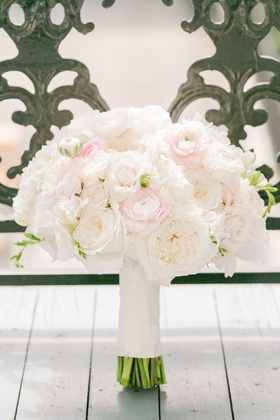 Bride's bouquet of white garden roses & pink ranunculuses