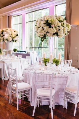 Wedding reception with white decor tall hydrangea flower arrangement, potted plants mint julep cup
