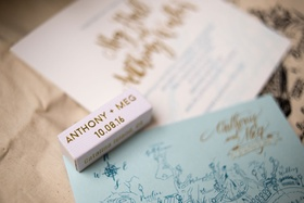 matchbook wedding favors with bride and groom name and date