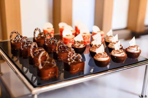small gourmet desserts with pretzels, chocolate, mousse