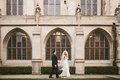 Bride in dimitra's bridal couture wedding dress veil groom in suit chicago venue
