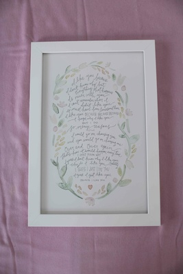 Childhood poem in calligraphy with watercolor border and frame
