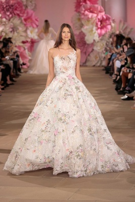 Ines Di Santo ball gown asymmetrical bodice flower print and illusion back
