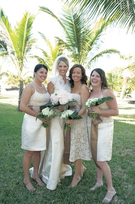 Lace wedding dress and lace bridesmaid dresses