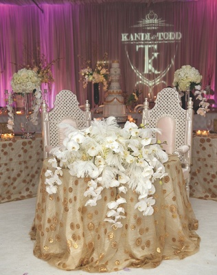 Kandi Burruss and Todd Tucker golden reception tables