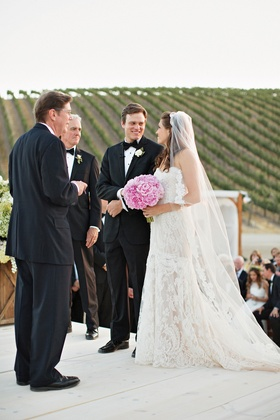 Bride and groom at Christian ceremony altar
