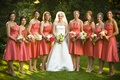 Bride with bridesmaids in strapless salmon pink dresses