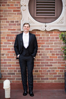 the black tux, groom in tuxedo with white tie, formal look for grooms