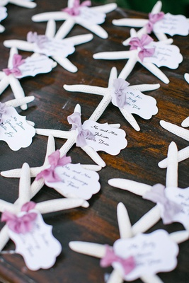 wedding escort card alternative for destination wedding in hawaii starfish white with tags purple