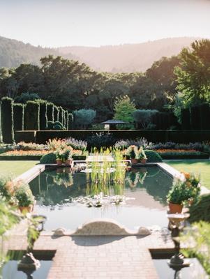 wedding at filoli, garden wedding location, pond in garden estate