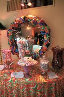 Retro dessert table with sweet treats