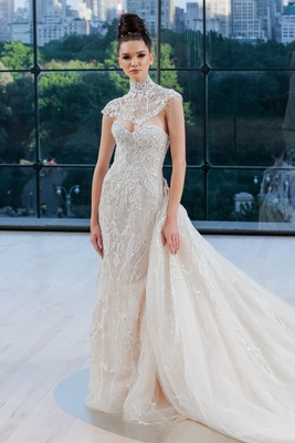 """Carnegie"" Ines Di Santo fall 2018 wedding dress strapless embroidery with train and bolero"