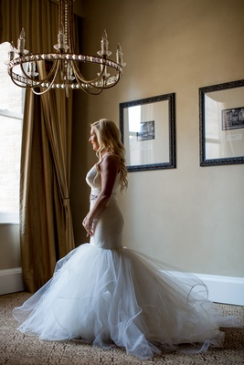 bride in blush by hayley paige, tulle mermaid skirt