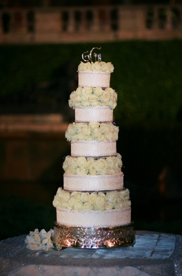 Display cake with white roses made of styrofoam