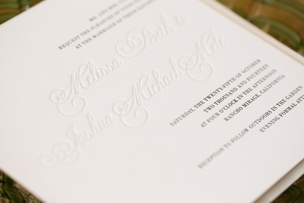Blind deboss invite with black lettering