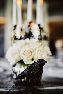wedding reception halloween theme black crow black raven bird decor white rose flowers