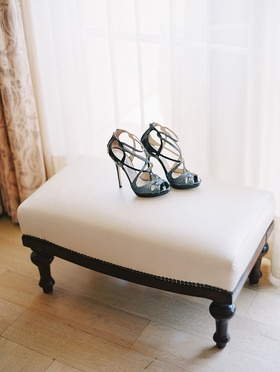 brides black and silver high heel shoes for her wedding jimmy choo