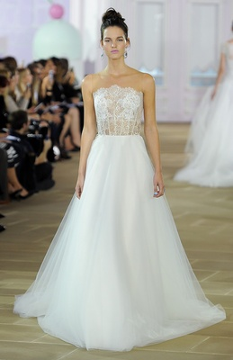 Strapless soft ball gown with Chantilly illusion corset, embroidered mohair belt, and soft tulle ski