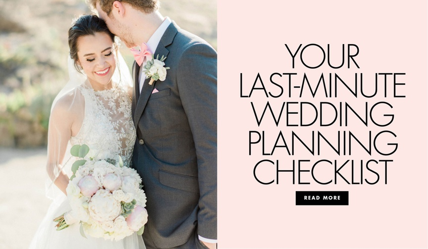 Last minute wedding planning checklist for what to do before the wedding week away