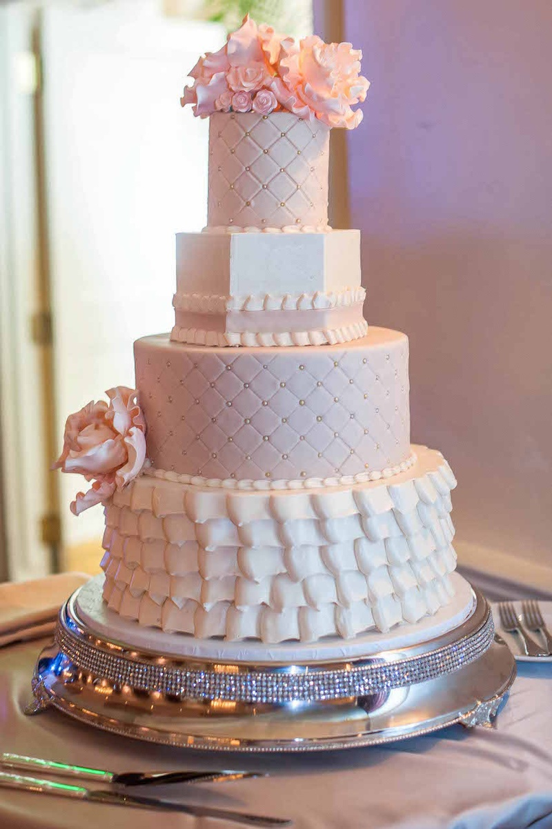 Cakes & Desserts Photos - Ruffled & Quilted Cake - Inside Weddings : quilted wedding cake - Adamdwight.com