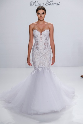Pnina Tornai for Kleinfeld 2017 Dimensions Collection mermaid wedding dress strapless embroidery