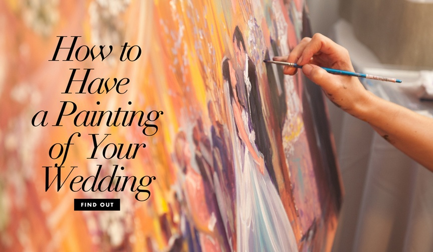 How to have a painting of your wedding and hiring a live event painter for the ceremony reception