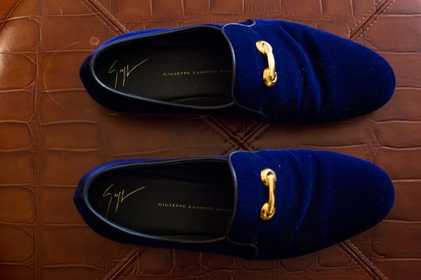 midnight blue men's velvet slippers, gold buckle, groom's shoes