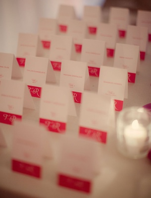 White rectangular card with pink border and lettering
