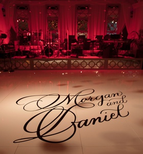 Wedding reception decoration ideas white dance floor with calligraphy names on dance floor tiles