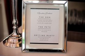 Wedding signature cocktail menu with silver chrome frame three libations to choose from