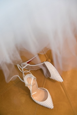 Christian Louboutin white pumps ankle straps