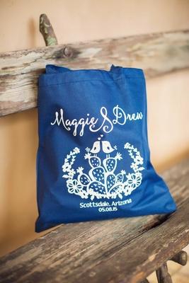 Royal blue tote bag with white motif Scottsdale Arizona wedding prickly pear love bird drawing