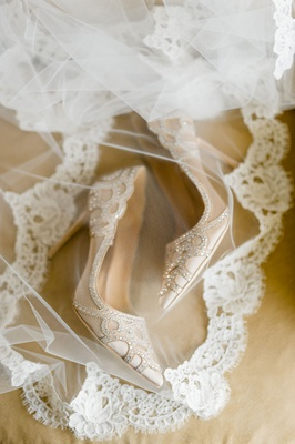 bridal shoes wedding heels champagne pumps with rhinestone crystal embellishments on lace trim veil