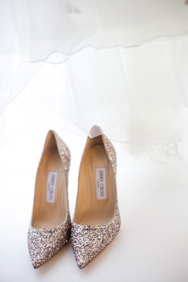 Gold glitter Jimmy Choo wedding shoes pointed toe pumps glittery