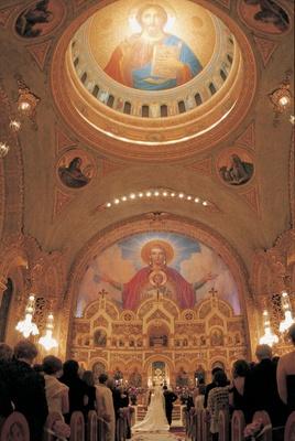 Wedding ceremony at Saint Sophia Greek Orthodox Cathedral, Los Angeles