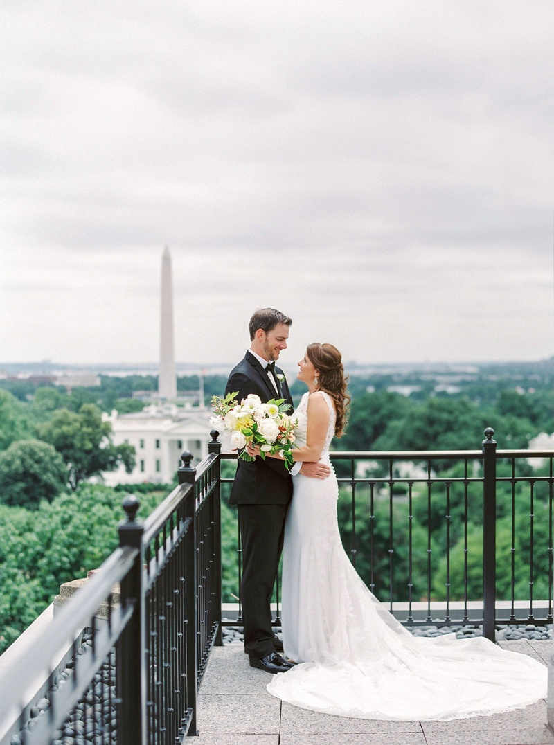 Wedding portrait with view of The White House and Washington Monument in Washington, DC outdoors