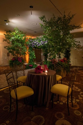 indoor garden-themed reception, natural reception decorations