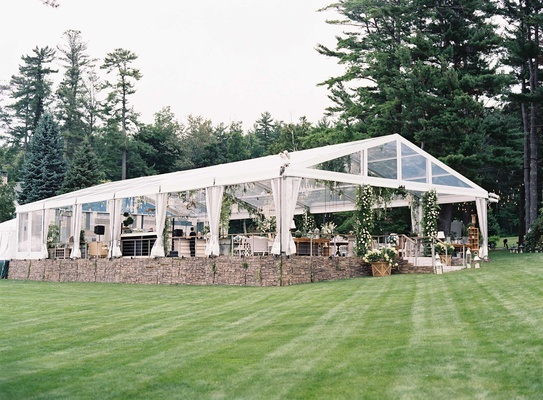 Marriott family lake house tent wedding greenery and shabby chic furniture