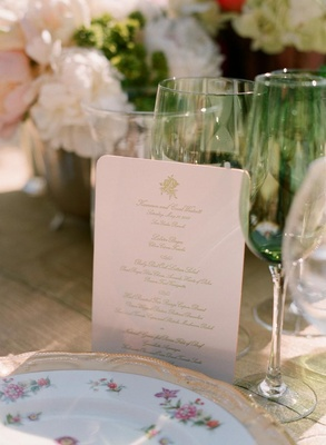 Rounded edge menu card and fine china