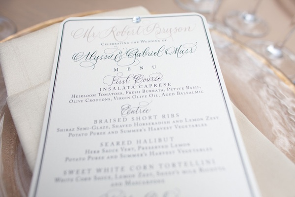 Rounded edge menu with modern calligraphy lettering