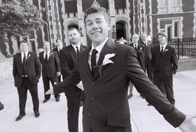 Black and white photo of groom and groomsmen