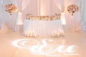 Wedding reception pink and gold white color palette lighting design gobo monogram on dance floor