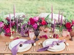 bold chic tablescape purple details reception california boho chic wedding styled shoot natural glam